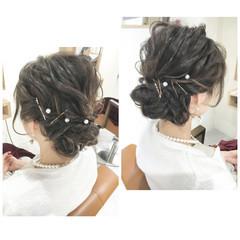 ヘアアレンジ ブライダル ミディアム 外国人風 ヘアスタイルや髪型の写真・画像