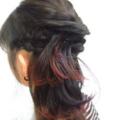 大人かわいい パープル ヘアアレンジ ツートン ヘアスタイルや髪型の写真・画像