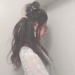 お団子 セルフヘアアレンジ ロング ゆるふわ ヘアスタイルや髪型の写真・画像