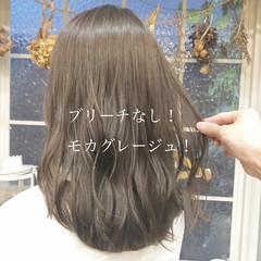 ヘアカラー ブリーチなし ベージュ ナチュラル ヘアスタイルや髪型の写真・画像