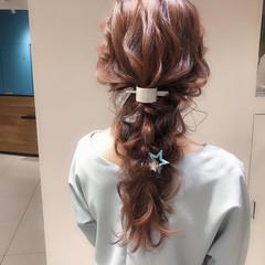 結婚式 編みおろし ロング ナチュラル ヘアスタイルや髪型の写真・画像