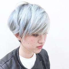 ストレート ショート ホワイト モード ヘアスタイルや髪型の写真・画像