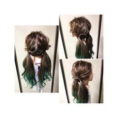 くるりんぱ 後れ毛 編み込み ヘアアレンジ ヘアスタイルや髪型の写真・画像