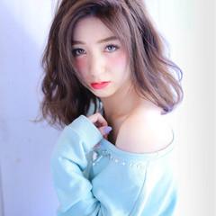 ガーリー フェミニン セミロング 大人かわいい ヘアスタイルや髪型の写真・画像