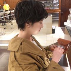 パーマ ヘアアレンジ ショート 黒髪 ヘアスタイルや髪型の写真・画像