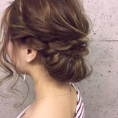 編み込み エレガント ブライダル ヘアアレンジ ヘアスタイルや髪型の写真・画像