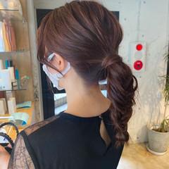 セルフヘアアレンジ ラベンダーピンク ナチュラル 簡単ヘアアレンジ ヘアスタイルや髪型の写真・画像