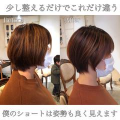 インナーカラー エレガント ウルフカット ショート ヘアスタイルや髪型の写真・画像