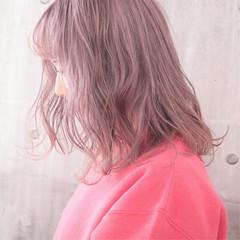ナチュラル ピンクバイオレット 簡単ヘアアレンジ 外国人風カラー ヘアスタイルや髪型の写真・画像