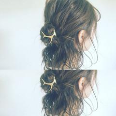 ヘアアレンジ ショート 暗髪 ハーフアップ ヘアスタイルや髪型の写真・画像