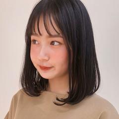 ワンカールスタイリング フェミニン ワンカール ロブ ヘアスタイルや髪型の写真・画像