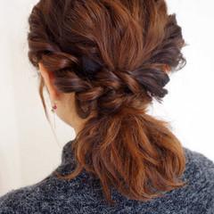 セミロング 波ウェーブ 簡単ヘアアレンジ ショート ヘアスタイルや髪型の写真・画像