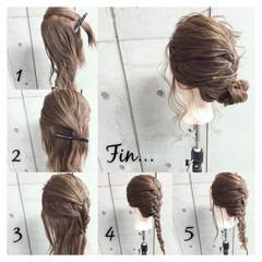 くるりんぱ セミロング くせ毛風 簡単ヘアアレンジ ヘアスタイルや髪型の写真・画像