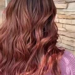 ピンク バレイヤージュ ガーリー ピンクベージュ ヘアスタイルや髪型の写真・画像