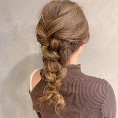 簡単ヘアアレンジ 秋ブラウン ミディアム ヘアアレンジ ヘアスタイルや髪型の写真・画像