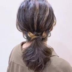 パーティ ヘアアレンジ セミロング ポニーテール ヘアスタイルや髪型の写真・画像