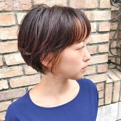 ショート インナーカラー ショートボブ ショートヘア ヘアスタイルや髪型の写真・画像