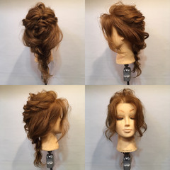 ヘアアレンジ セミロング ロープ編み フェミニン ヘアスタイルや髪型の写真・画像