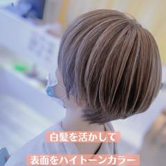 エレガント 大人ハイライト 3Dハイライト 白髪染め ヘアスタイルや髪型の写真・画像