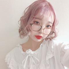 派手髪 ミニボブ ピンク ボブ ヘアスタイルや髪型の写真・画像