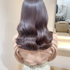 ラベンダーアッシュ 韓国ヘア セミロング ナチュラル ヘアスタイルや髪型の写真・画像