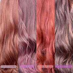 ピンクベージュ ピンクブラウン ピンクバイオレット ガーリー ヘアスタイルや髪型の写真・画像