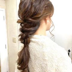 ヘアアレンジ 編みおろしヘア ナチュラル 編みおろし ヘアスタイルや髪型の写真・画像