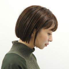 ナチュラル ボブ 耳かけ 簡単ヘアアレンジ ヘアスタイルや髪型の写真・画像