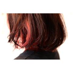 個性的 ボブ モード インナーカラー ヘアスタイルや髪型の写真・画像