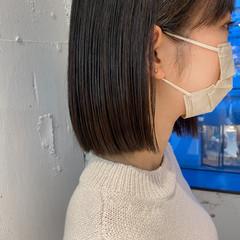 ミニボブ 切りっぱなしボブ 髪質改善トリートメント 透明感カラー ヘアスタイルや髪型の写真・画像