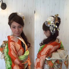 ヘアアレンジ ロング ハーフアップ ショート ヘアスタイルや髪型の写真・画像