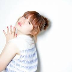 ヘアアレンジ フェミニン お団子 ミディアム ヘアスタイルや髪型の写真・画像