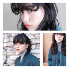 ウェーブ ヘアアレンジ 黒髪 ストリート ヘアスタイルや髪型の写真・画像