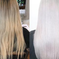 ハイトーン ロング プラチナブロンド ブリーチ ヘアスタイルや髪型の写真・画像
