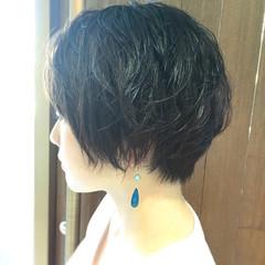 パーマ ショート ナチュラル 涼しげ ヘアスタイルや髪型の写真・画像