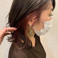ガーリー ピンクバイオレット 外ハネボブ ボブ ヘアスタイルや髪型の写真・画像