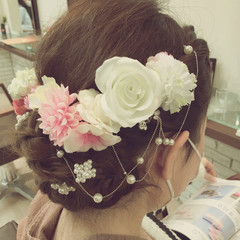 ヘアアレンジ 成人式 セミロング 結婚式 ヘアスタイルや髪型の写真・画像