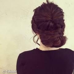 編み込み モテ髪 まとめ髪 ゆるふわ ヘアスタイルや髪型の写真・画像