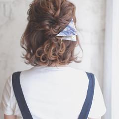 アッシュ ショート ボブ ハーフアップ ヘアスタイルや髪型の写真・画像