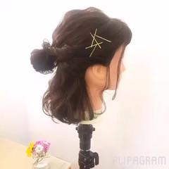 夏 ボブ ハーフアップ ゆるふわ ヘアスタイルや髪型の写真・画像