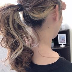 ミルクティー ロング ミルクティーベージュ インナーカラー ヘアスタイルや髪型の写真・画像
