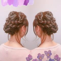 ヘアアレンジ まとめ髪 編み込み セミロング ヘアスタイルや髪型の写真・画像