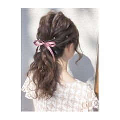 ヘアアレンジ エレガント 上品 ハーフアップ ヘアスタイルや髪型の写真・画像