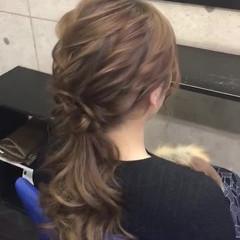 外国人風 ロング ヘアカラー ヘアセット ヘアスタイルや髪型の写真・画像