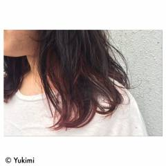 ストリート ミディアム ウェットヘア インナーカラー ヘアスタイルや髪型の写真・画像