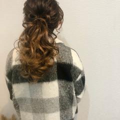 セミロング ポニーテールアレンジ ヘアセット 結婚式 ヘアスタイルや髪型の写真・画像