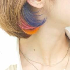 ガーリー レッド ダブルカラー ピンク ヘアスタイルや髪型の写真・画像