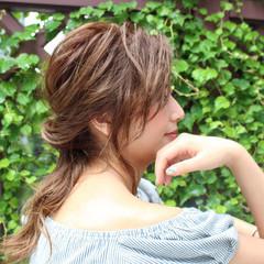 アッシュ ヘアアレンジ 簡単ヘアアレンジ ミルクティー ヘアスタイルや髪型の写真・画像