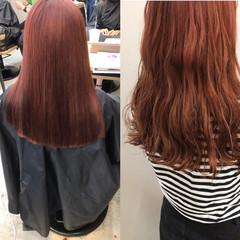 フェミニン アディクシーカラー オレンジカラー セミロング ヘアスタイルや髪型の写真・画像