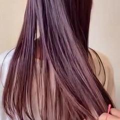 ピンク ミディアム ピンクパープル ベリーピンク ヘアスタイルや髪型の写真・画像